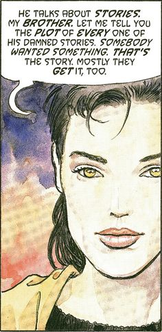 """I should warn you, getting what you want and being happy are two quite different things."" Desire (art by Milo Manara)  The Sandman: Endless Nights (Neil Gaiman)"