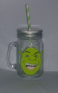 Hand painted Shrek drinking jar. by BeUniqueCrafting on Etsy