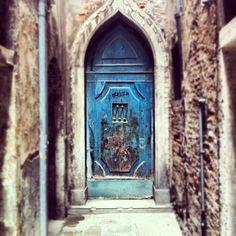 Spooky blue door in Venice alley. #travel #italy