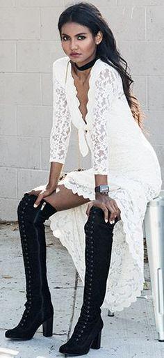 White Lace Booty Dress Fall Street Style Inspo - Bohemian, Boho Chic And Hippie Fashion