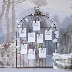 idée plan de table mariage original en cage à oiseaux, cartes et pinces