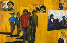 Iris Kensmil, Up, You mighty Race, 2006, acryl, oilpastel, varnish on canvas, 188 x 390 cm