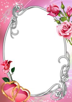 Pink Transparent Frame with Roses and Hearts