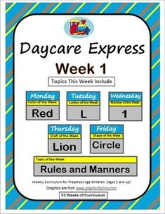 Daycare Curriculum $4 per week. Color Red Craft, Letter L Craft, Number 1 Craft, Lion Craft, Circle Craft, Topic of the Week Rules and Manners, Daycare Crafts, Preschool Crafts