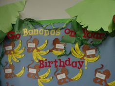 31 Ideas Birthday Board Ideas For Work Preschool Bulletin Jungle Bulletin Boards, Jungle Theme Classroom, Birthday Bulletin Boards, Classroom Board, Classroom Themes, Classroom Birthday Displays, Classroom Layout, Birthday Wall, Monkey Birthday