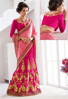 Online saree shopping India at ​sarees palace. cho​ose from a huge collecti​on of designer, ethnic, ca​sual sari, buy sarees online India for all occasions. Lehenga Style Saree, Pink Lehenga, Net Lehenga, Lehenga Choli, Saree Blouse, Pink Fashion, Indian Fashion, Ethnic Fashion, Women's Fashion