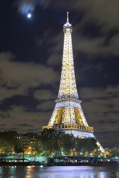 The beautiful Eiffel Tower in Paris, France at night. - title Moonlight