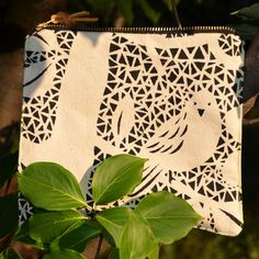 POUCH ZIPPER BAG // mosaic bird pattern hand printed on natural white canvas fabric fully lined. $18.00, via Etsy.