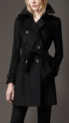 Mid-Length Wool Cashmere Trench Coat   Burberry