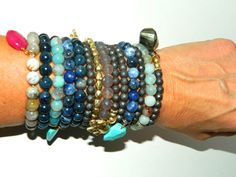 Multi Faceted Pyrite beads hand wired Elephant for Luck dangle Stretch Bracelet Stack 'Em on Etsy, $24.00