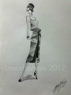 Fashion Illustration 1920s Art Deco Original by LinearFashions