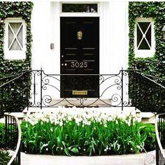 Schön gestalter Hauseingang mit den Blumen davor