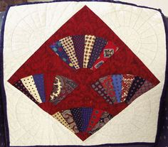 One of four memory quilts made for friends from their fathers bow ties.