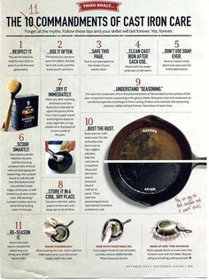 Lol here are The 11 Commandments of Cast Iron Care