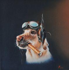 Byung Min   Baron  Aviator dog with cigar & goggles