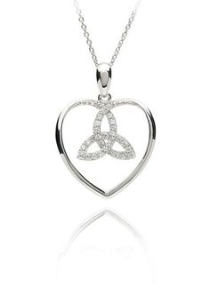 Trinity symbol in heart pendant