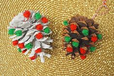 These pom pom pine cone ornaments are fun and easy to make and take only minutes. They would make a great addition to your tree or easy gift for kids to give this year. Pinecone Crafts Kids, Pinecone Ornaments, Pine Cone Crafts, Ornament Crafts, Easter Crafts For Kids, Craft Stick Crafts, Diy Crafts, Christmas Projects, Holiday Crafts