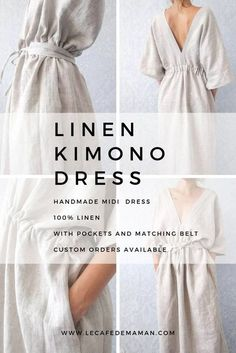 handgemachte Kleidung Linen Womens Clothing by Le caf de maman, timeless handmade dress in linen, with pockets and matching handmade belt, perfect for your summer holiday or as a casual outfit! Available for custom orders! Look Fashion, Diy Fashion, Ideias Fashion, Fashion Dresses, Woman Fashion, Fashion Styles, Trendy Fashion, Holiday Fashion, Fashion Sewing