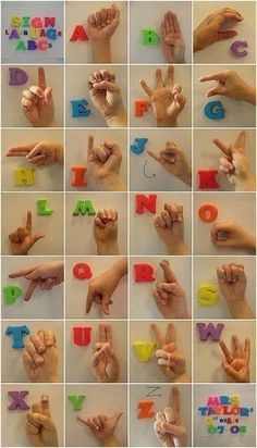 Help the deaf, learn sign language, American Sign Language chart, photo of sign language letters Sign Language Basics, Sign Language Chart, Sign Language Phrases, Sign Language Interpreter, Sign Language Alphabet, Learn Sign Language, Baby Sign Language, Language Lessons, Alphabet Signs