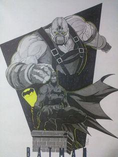 Ilustração Batman vs Bane pin up -Edi santos Batman vs Bane illustration pin up -Edi santos