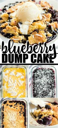 Simple, tasty, and satisfying, this blueberry dump cake is a crowd pleaser! It combines canned blueberry pie filling with shredded coconut, melted butter and yellow cake mix. Blueberry Dump Cakes, Blueberry Desserts, Just Desserts, Delicious Desserts, Blueberry Pudding Cake, Dump Cake Recipes, Dessert Recipes, Canned Blueberries, Yellow Cake Mixes