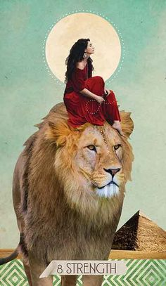Strength isn't just about being a lion. It's not just courage; it's finding a way to be calm. The person who can calm the lion has more strength than the lion itself. Art And Illustration, Signe Astro Lion, Tarot By Cecelia, Strength Tarot, Mode Poster, Arte Obscura, Tarot Card Meanings, Lion Art, Goddess Art