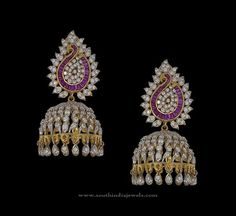 New Diamond Jhumka Designs, Latest Model Diamond Jhumkas 2016, Diamond Jhumka Collections 2016.