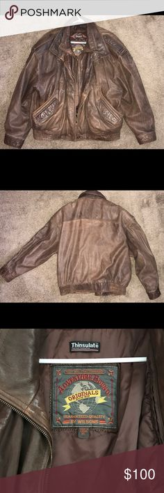 """Adventure Bound Leather Aviator Jacket Gently used , Genuine leather leather Aviator jacket. This jacket will contain dark spots, uneven coloring, & natural range marks (barbed-wire scratches, branding) that are part of genuine leather and are considered as """"beauty marks"""". Wilsons Leather Jackets & Coats Military & Field"""