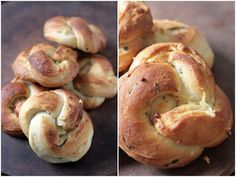 Butterhorn Garlic Knots ~ Brushed before, during and after baking and ...