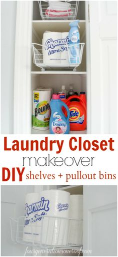 A laundry utility closet makeover {DIY} Shelves + how to install pullout wire bins