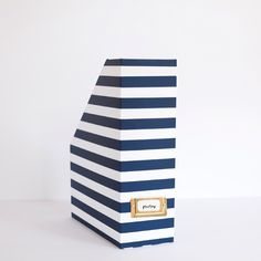 Our navy stripe magazine boxes and memory boxes sold out super fast... And they're BACK in stock!!  www.EmilyLey.com