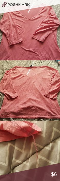 Gap 3 Quarter Sleeve Vneck Shirt 3 quarter sleeve vneck shirt in pink/salmon color. No stains, pull  under shirt by seam. Good condition. 100% cotton, machine wash inside out warm, gentle cycle,  tumble dry low. GAP Tops Tees - Short Sleeve