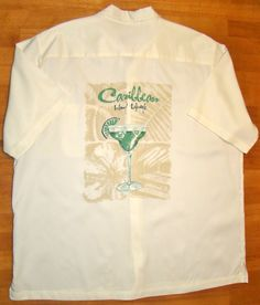 Caribbean Mens Shirt.  Island Life with Margarita on pocket and back!  Ready for the summer