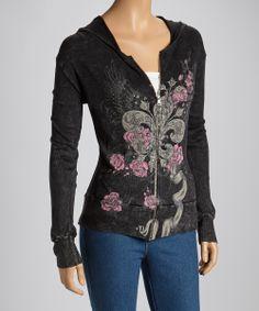 Black Roses & Fleur-de-Lis Hoodie - Women & Plus | Daily deals for moms, babies and kids