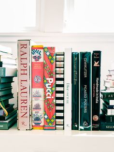 books at Serena & Lily headquarters | using books as decor