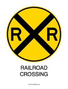 Free printable railroad crossing sign - print and laminate for decorations.  Also b crossing sign: http://www.printablesigns.net/click.php