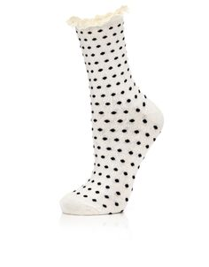Frilly Lace Spotty Socks | Cream | Accessorize