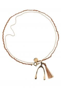 wishbone I gold plated lucky charm necklace