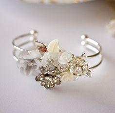 Silver Bracelet  Bridal Bracelet Vintage Bracelet by lonkoosh on Etsy