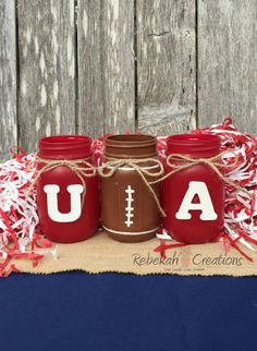 Decorated Mason Jars for Sale in New Market, TN - OfferUp Alabama Room, Alabama Decor, Alabama Crafts, Sweet Home Alabama, Alabama Baby, Mason Jars For Sale, Razorback Party, Grooms Table, Football Birthday