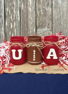 University of Alabama Mason Jars, Alabama Dorm Decor, Roll Tide, Alabama Crimson Tide, Alabama Tailgate