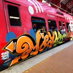 Graffiti art , street art , Urban art art Life style by urbanNYCdesigns Graffiti Words, Best Graffiti, Graffiti Tagging, Graffiti Artwork, Mural Art, Street Art Graffiti, Street Art Love, S Bahn, Train Art