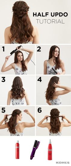 Yes, YOU can accomplish this gorgeous half updo! To prep hair, start by spraying CHI 44 Iron Guard Thermal Protection Spray onto your hair. Then, using the InStyler Rotating Iron Hair Styler, curl hair by twisting around the rod and holding down with the My Hairstyle, Curled Hairstyles, Braided Hairstyles, Wedding Hairstyles, Cool Hairstyles, Decent Hairstyle, Hairstyle Ideas, Black Hairstyles, Wedding Hair And Makeup