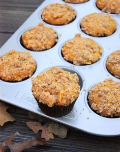 Pumpkin Apple Streusel Muffins ... 2 fall flavors are perfect together in this tender & tasty muffin!  www.thekitchenismyplayground.com  #muffins