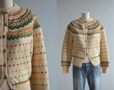 Vintage Nordic Wool Cardigan / 50s Hand Knit Fair by zestvintage