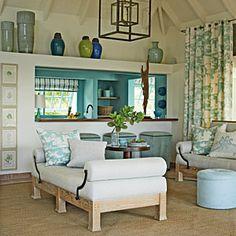 island cottag, blue, color, beach houses, pool houses, coastal living, cottage living rooms, kitchen, live room