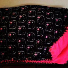 #Hello #Kitty #Fleece #Blanket #black #white #hotpink Feb.2014