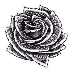 Money Rose Drawing Outline Hundred dollar bill rose floral tattoo . Gangster Tattoos, Tattoo Designs, Floral Tattoo Design, Design Tattoos, Floral Design, Tattoo Ideas, Rose Tattoos, Body Art Tattoos, Sleeve Tattoos