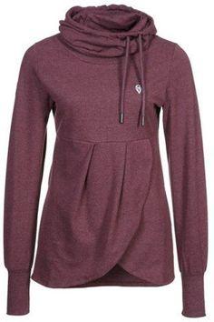 Red Plain Drawstring Irregular Long Sleeve Fashion Pullover Sweatshirt
