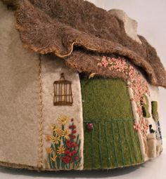 Vintage Wool Felted English Cottage Tea Cosy with embroidered details ... 1930s